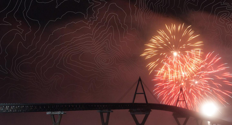 Fireworks and bridge