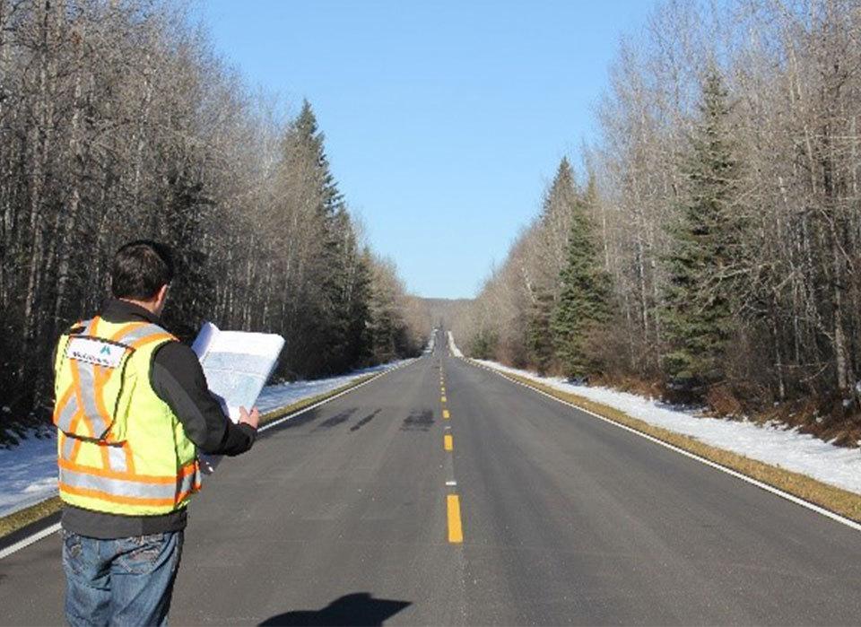 Staff on road